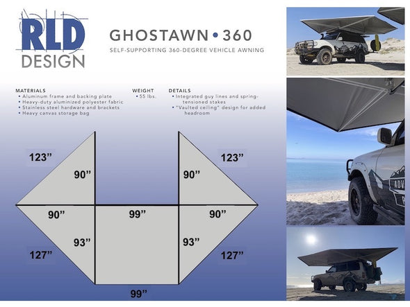 RLD GhostAwn 360 Self Supporting Awning Specifications and Dimensions
