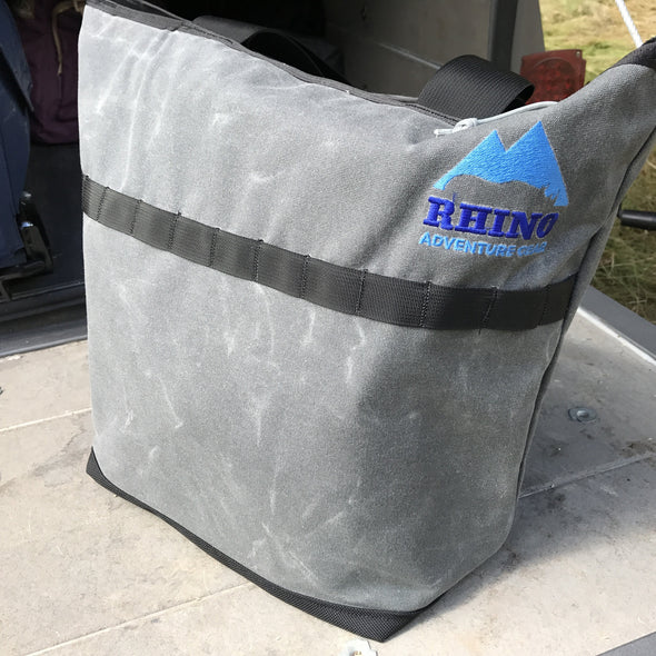 Rhino Adventure Gear tote bag sitting on dropped tailgate
