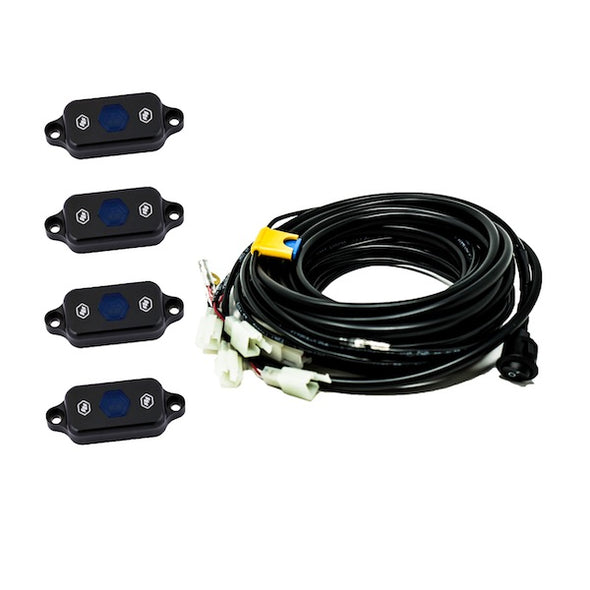Baja Designs Blue LED Rock Light Kit with 4 LEDs and wiring