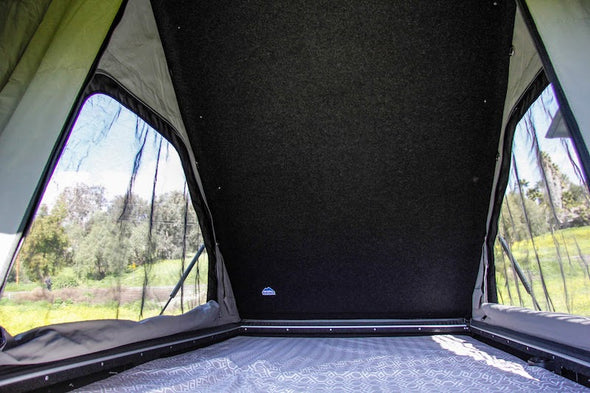 Camp King Aluminum Roof Top Tent Interior details of insulated roof and mesh windows