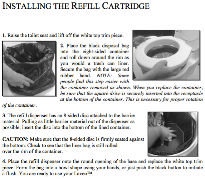... Written Instructions Describing How To Install Refill Cartridges In Dry  Flush Laveo Portable Camping Toilet System
