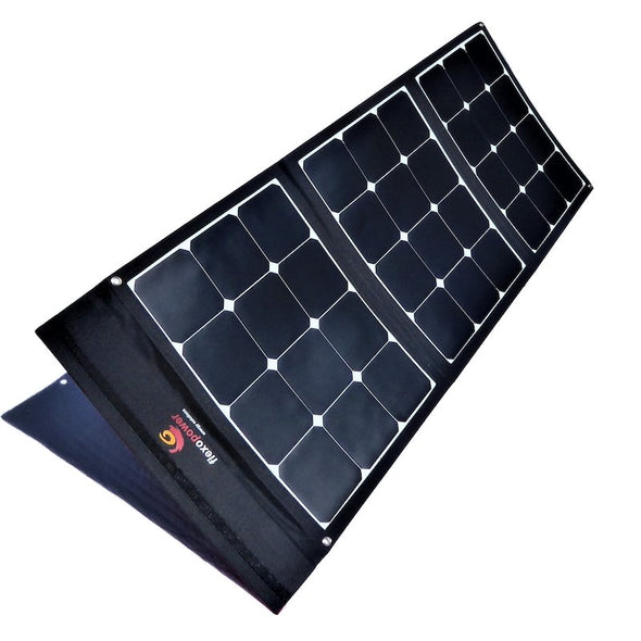 100W foldable solar panel included in Flexopower Baja portable solar panel kit shown deployed and angled toward the sun using integrated legs