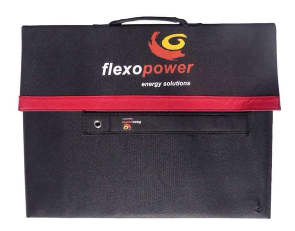 Flexopower Baja 100W portable solar panel folded up into carry case front view