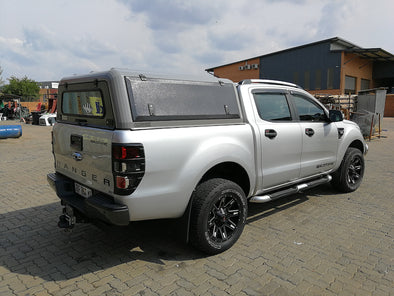 RLD Design stainless Steel Truck Cap for Ford Ranger shown in gray with black doors