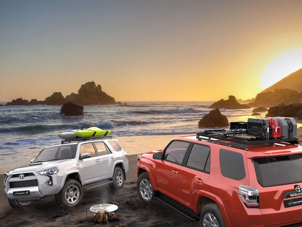 Front Runner SlimLine II 3/4 Size Roof Rack Kit on 5th Gen Toyota 4Runner with kayaks and jerry cans