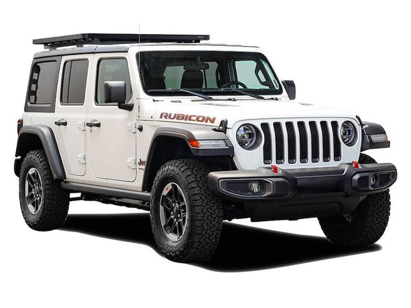 Front Runner SlimLine II Half Size Extreme Roof Rack Kit on Jeep JLU front view