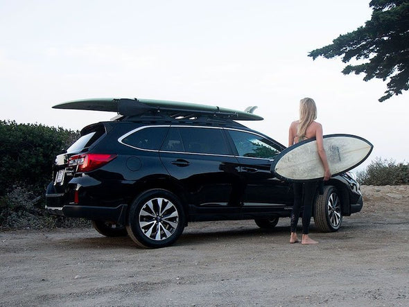 Front Runner SlimLine II Roof Rack Kit on Subaru Outback with surfboards