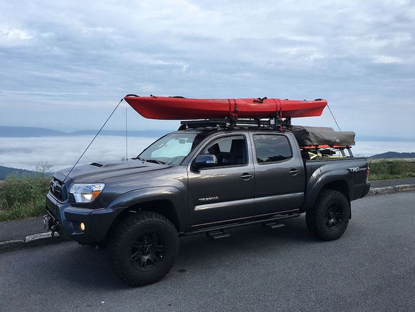Front Runner SlimLine II Cab Roof Rack Kit on Toyota Tacoma Low Profile with kayak