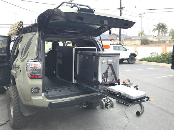 Goose Gear CampKitchen Double Fridge and Stove Slides with Cabinet Enclosure-shown in Toyota 5th Gen 4Runner rear cargo area