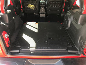 black linex coated baltic birch mounting platform in red jeep JL