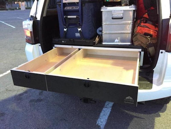 Goose gear side by side double drawers in back of SUV shown in black with drawers open