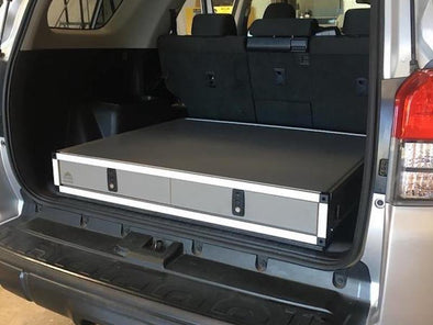 Goose Gear side by side double drawer in rear cargo area- shown in gray
