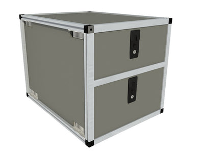 Goose Gear stacked double drawer vehicle storage cabinet shown in gray