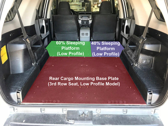 annotated components of Goose Gear Toyota 4Runner 5th Gen 3rd Row Seats Low Profile Sleeping Platform and Rear Cargo Base Plate