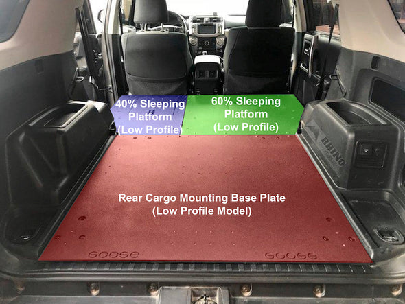annotated components of Goose Gear Low Profile Sleeping Platform and Rear Cargo Base Plate