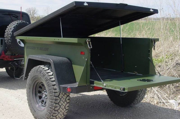 Off road trailer for roof top tent with gas strut hinged lid option
