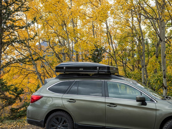 iKamper Skycamp Mini Roof Top Tent shown mounted Subaru Outback - closed