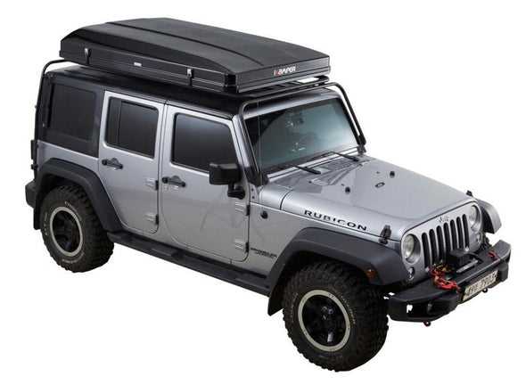 ikamper skycamp 2.0 roof top tent on jeep rubicon closed rtt three quarter view