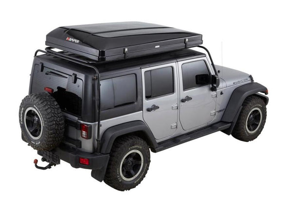 ikamper skycamp 2.0 roof top tent on jeep rubicon closed rtt rear three quarter view