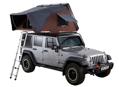 ikamper skycamp 2.0 roof top tent on jeep rubicon open rtt three quarter view