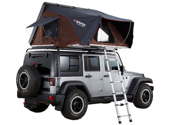 ikamper skycamp 2.0 roof top tent on jeep rubicon open rtt rear three quarter view