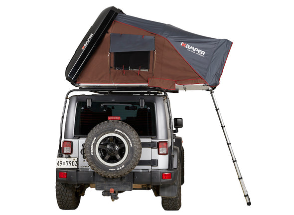 ikamper skycamp 2.0 roof top tent on jeep rubicon open rtt rear view