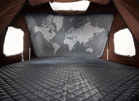 ikamper skycamp 2.0 roof top tent detail fabric world map graphic interior