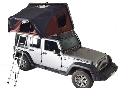 iKamper Skycamp Roof Top Tent on top of Jeep: view of tent entrance and ladder