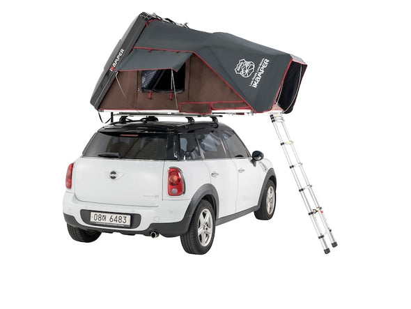 iKamper Skycamp Mini Roof Top Tent shown open on white Mini Cooper- rear view