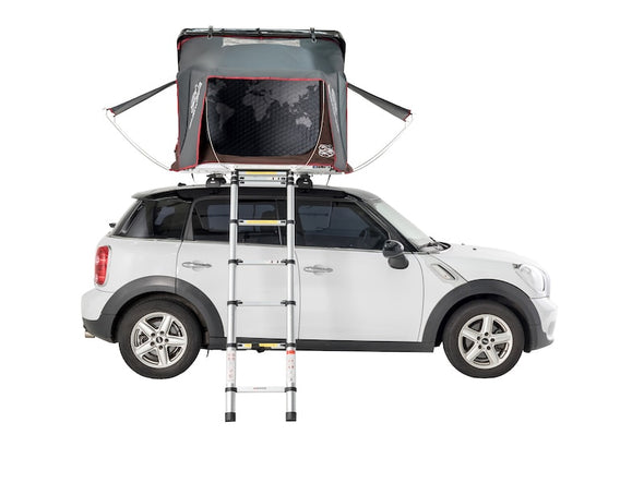 iKamper Skycamp Mini Roof Top Tent shown open on white Mini Cooper with window canopies open