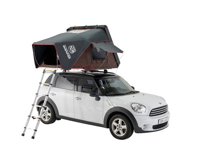 iKamper Skycamp Mini Roof Top Tent shown open on white Mini Cooper