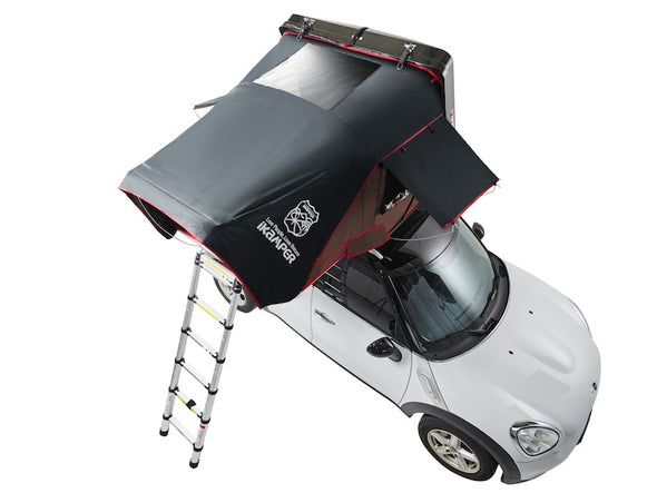 iKamper Skycamp Mini Roof Top Tent shown open on white Mini Cooper- arial view