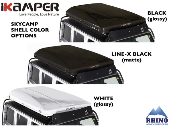 iKamper Skycamp Mini Roof Top Tent exterior shell options: black, white, Line-X black