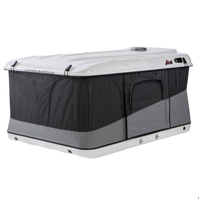 James Baroud Evasion XXL Roof Top Tent shown at 3/4 angle with door and window panels closed