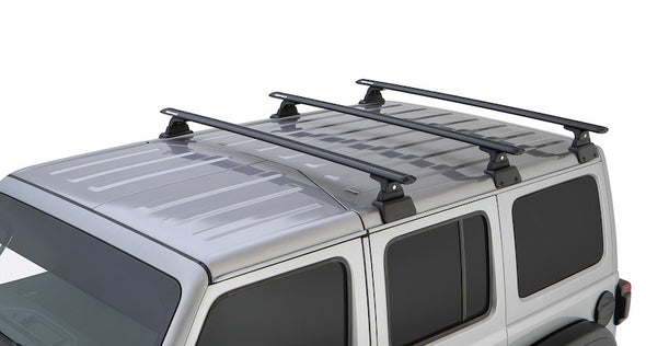 3 black vortex cross bars mounted on Rhino-Rack Backbone Roof Rack System for Jeep JL