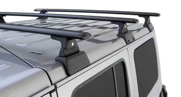 Detail of Rhino-Rack Vortex Cross Bars on Jeep JL Backbone Roof Rack System