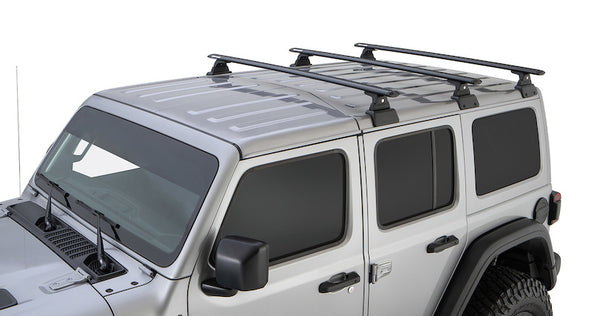 Jeep Wrangler JL Hardtop with Rhino-Rack Backbone skeletal support mounting points for 3 black Vortex Cross Bars