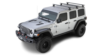 Jeep Wrangler JL Hardtop with Rhino-Rack Backbone skeletal support rack system using 3 black vortex crossbars on RL
