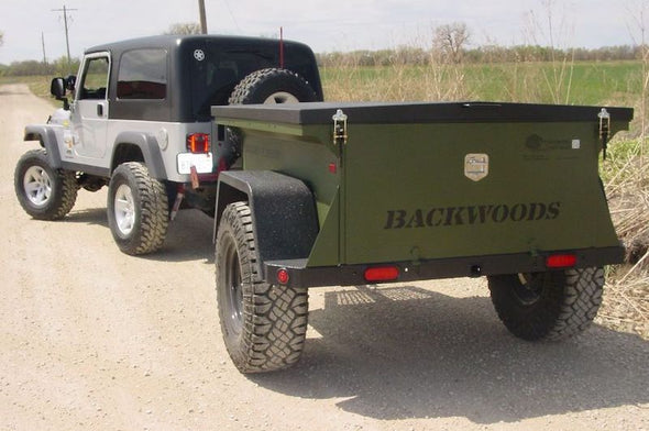 Jeep pulling To Extreme Rugged and Ready Backwoods Off road trailer