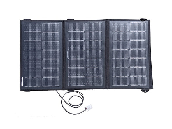 Merlin Solar BXD95 trifold portable solar panel shown open with cord and Anderson connector