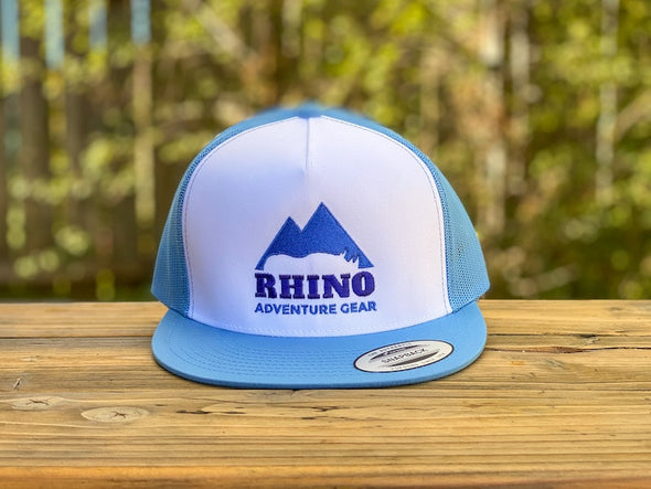 Rhino Adventure Gear RAG SWAG snapbill hat- carolina blue logo embroidered flat bill hat