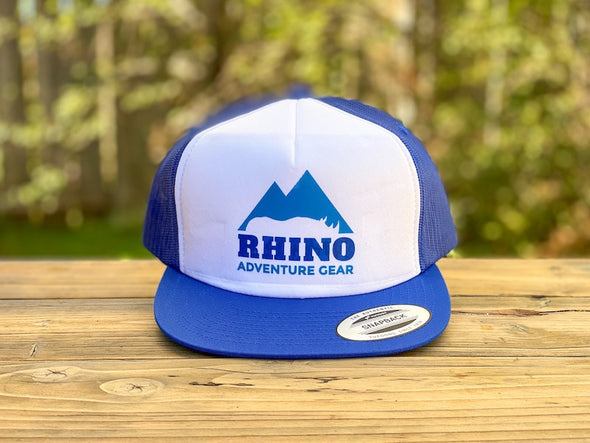 Rhino Adventure Gear RAG SWAG snapbill hat- roayal blue logo screen printed flat bill hat
