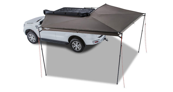 Rhino Rack Batwing Awning shown set up with 270 degree sun coverage