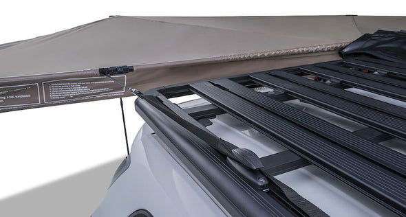 Batwing Awning tie down anchored to roof rack