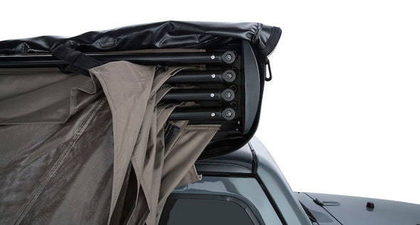 Detail of Batwing Awning arms and legs stored on roof rack