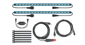 Components of Rhino Rack Batwing Awning LED Light Kit included 2 LED light bars, on/off dimmer switch, 12V cigarette lighter adaptor, 8ft extension cord, and velcro ties