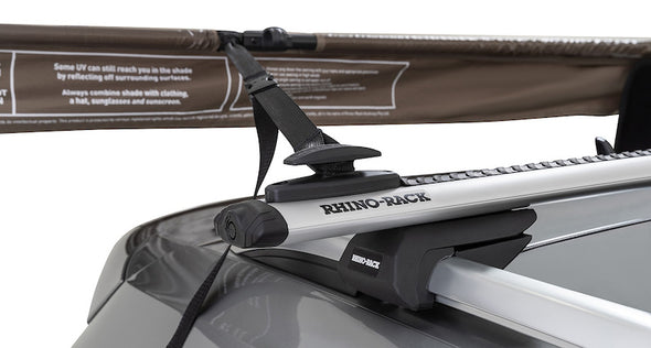 Left Side Mounted Rhino-Rack Batwing Compact Awning- easy set up tie down point on rack