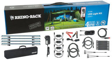 Components of Rhino Rack LED Light Kit include 4 LED light bars, remote on/off dimmer switch, 12V cigarette lighter adaptor, 8ft extension cord, various extension cords, splitters, and velcro ties