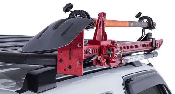 high lift jack and recovery shovel attached to roof rack with combination bracket kit