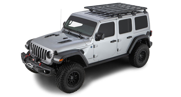 Jeep JL with Pioneer Platform and Rhino-Rack Backbone skeletal support rack system